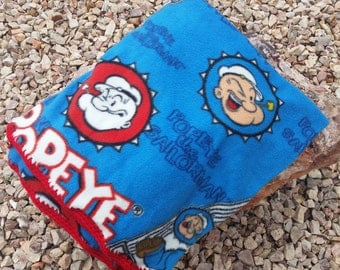 Popeye the Sailor Man Crocheted Fleece Blanket