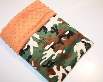 SALE - Ready to Ship, Baby Boy MINKY Baby Blanket, Green Camo Baby Blanket, Woodland Baby Blanket, Camouflage Baby Blanket, Antler Blanket