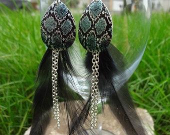Feathered Snakeskin Earrings