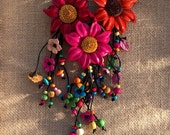 Sunflower leather colorful keychain and / or bag charm