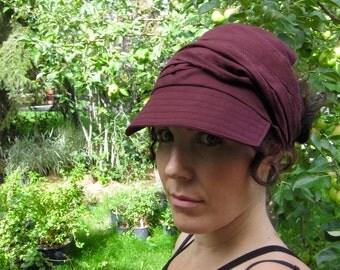 Burgundy Wrap Cap Dreadlock Hat Visor