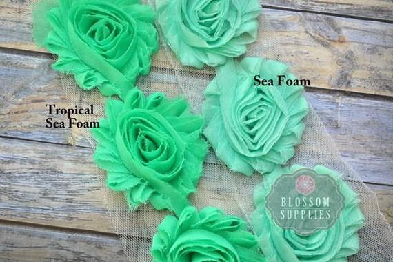1 2 or 1 yard increment tropical sea foam chiffon shabby rose trim diy headband flowers. Black Bedroom Furniture Sets. Home Design Ideas