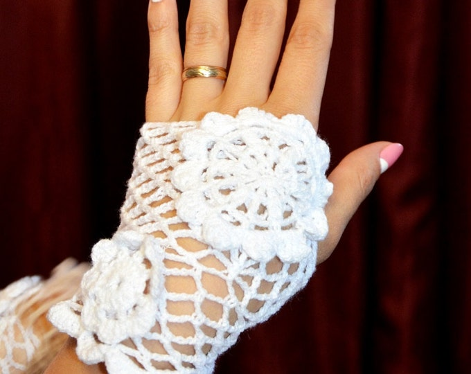 Ready to ship: Evening crochet gloves with 2 flower designs, wedding, special occasion,
