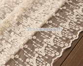 Beige Lace Fabric Vintage Style Water the flowers Lace Tulle Embroidered Lace Bridal Lace Fabric Curtain Scarf Fabric- 1 yard (W142)