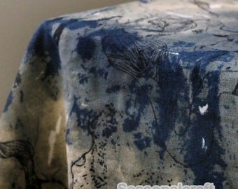 Retro Cotton Linen Fabric, The Chinese Style Blue Style fabric, Tie-Dye Blue Linen fabric,1/2 yards (QT771)