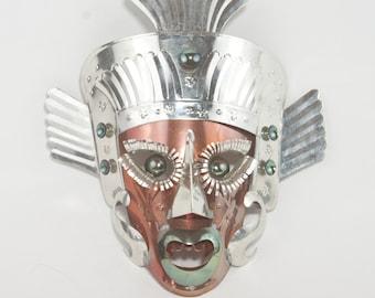 Vintage Folk Art Mask, Mexico, 1960s, Tin Mask, Mexican Mask Folk Art