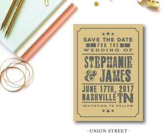 Union Street Printed Save the Dates | Save the Date Invitation and Envelope | Printed or Printable from Darby Cards