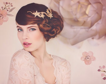 Star Wedding Tiara, Gold Crystal Bridal Headpiece, Star Headpiece, Winter Weddings, Bridal Headpiece, the Cassiopeia Gold Star Tiara #134