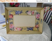 """15% OFF Nashco Toleware Metal Handled Vintage 22"""" Tray,  Hand Painted"""