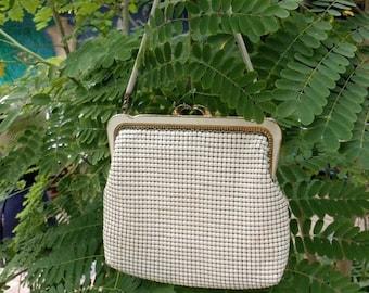 25% OFF 60s White Glo Mesh Park Lane Maille Handbag, Scalloped Frame, Snake Chain Handle