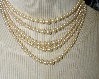 25% OFF 5 Strand Graduated Golden Lustrous Pearl Necklace, 3 -8.8 mm, Multi Strand