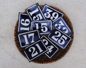 Vintage French enamel cobalt blue and white house number plaque - numbers 15 to 39