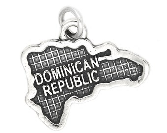 Sterling Silver Map of Dominican Republic Travel Charm