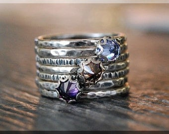 Autumn Set of 7 Stacking Rings, Gemstone Stacking Rings, Mini Inverted Gemstone Ring, Sterling Silver Ring Stack, Amethyst, Topaz, Tanzanite