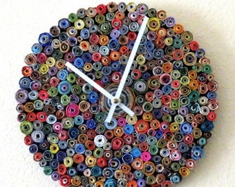 Sale, Designer Wall Clock,  Rainbow Clock,  As Seen In Vogue, Home and Living,   Recycled Art, Home Decor