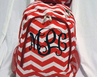 red Chevron Personalized Monogram Glitter Backpack
