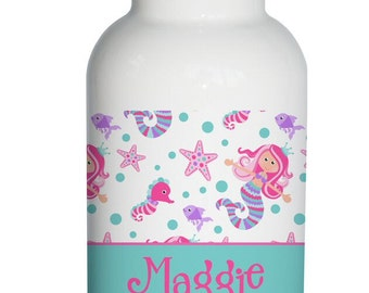 mermaid sea life Personalized Aluminum Water Bottle