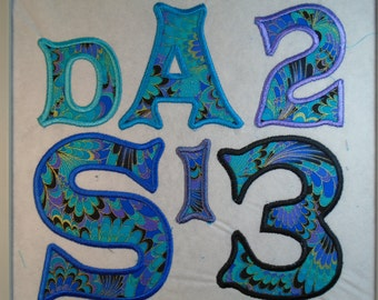 """Custom 2"""" Daisy Font or  Alphabet Letter iron on or sew on applique"""