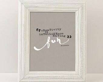 Creativity - Einstein Quote - Digital Printable Art - Home Decor - 8x10 - Instant Download
