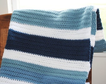 striped blues crochet throw/afghan baby toddler