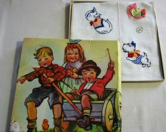 Cat & Dog Handkerchiefs Original Gift Box Two Charming Children's Embroidered Cotton Hankies SAet Unused with Labels Hanky C 50s or 60s