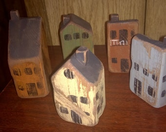 Rustic Tiny wood Saltbox Village town bldgs