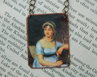 Jane Austen necklace Literature jewelry feminist mixed media jewelry