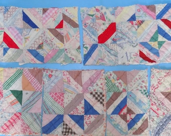 Six Antique Quilt Pieces