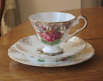 Vintage china tea cup trio