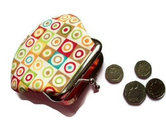 Retro Squares Fabric Change Purse - Small Coin Purse - Change Wallet -  UK Seller