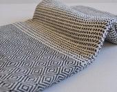 Chevron Pattern Turkish Towel Peshtemal towel in ivory black color Cotton Woven pure soft