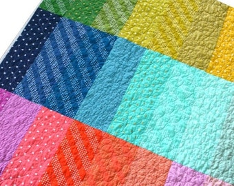BACK 2 SCHOOL SALE Rainbow Quilt - Lap Quilt - Toddler Quilt - Crib Quilt - Rainbow Blanket - Cotton and Steel Fabric