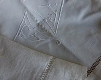 Vintage French  Metis Linen Sheet, Monogrammed G.J.