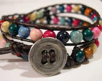 Beaded wrap bracelet, Wrap bracelet, Beaded LeatherWrap, Boho bracelet, Beaded wrap - 851