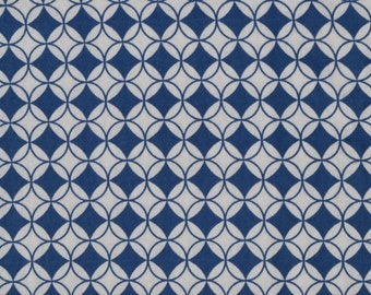 Geometric, circles, .  fabric by the yard.  Cut by the 1/2 yard (18 inches, 45.72 cm).  White, blue.