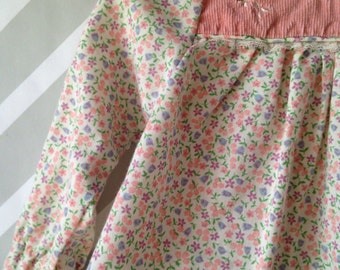 vintage pastel floral blouse for baby with Peter Pan collar and lace trim size 12 months / 1 year