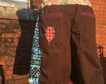 handmade patchwork mens S O L D Dude Shorts brown funky print 90s saved by the bell hippie patchwork READY TO SHIP six pocket 30 32 34 36 38