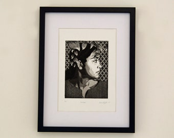 Portrait etching of a lady , Original profile portrait print of a lady, pattern, leaves, black and white wall art
