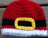 Crochet Santa buckle hat