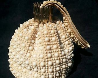 Vintage Ivory Beaded Purse/Handbag/Satchel/Wristlet with Gold Accordion Closure