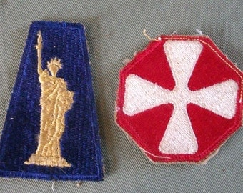 WW2  Shoulder Patches,  77th Infantry Division Patch &  8th Army Shoulder Patch