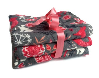 Woodland Animal Burp Cloths - Flannel Burp Cloth - Girl Burp cloth Set - Burp Rags - Burp Pads - Baby Girl Gifts - Cloth Diapers - Layette