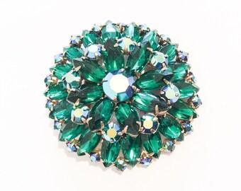 Juliana Brooch, Green Rhinestone Pin, 1950s Vintage Jewelry, CHRISTMAS SALE