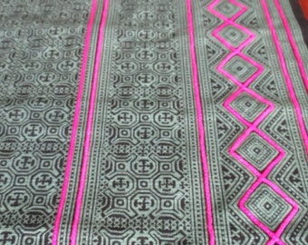 Handprinted  Batik Cotton , Hmong  Vintage style textiles and fabric- table runner from Thailand