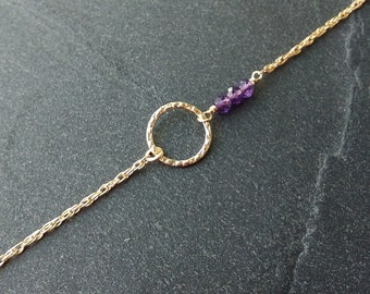 Gold filled and genuine amethyst bracelet - Amethyst bracelet - February birthstone - 14K gold filled chain -Everyday minimalist jewelry