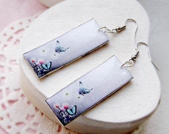 butterfly earrings -  romantic violet earrings
