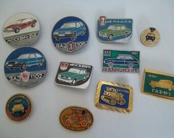 11 USSR pin badge - Soviet retro car - Russian automobile - old auto