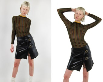 SALE % ICEBERG Vintage Black Leather Skirt