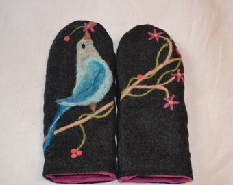 Wool mittens with felted tanager bird