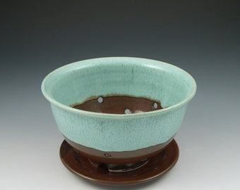 Berry Bowl and Plate in Aqua and Brown Handmade Ceramics